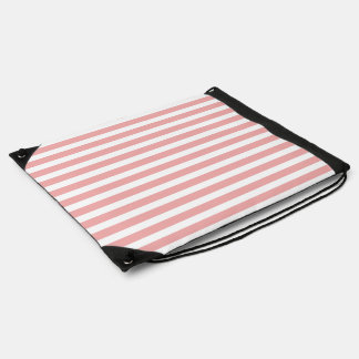 Valentines Stripes in Blush Pink and White Drawstring Bag