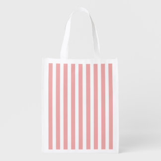 Valentines Stripes in Blush Pink and White Grocery Bag