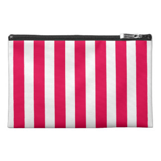 Valentines Stripes in Lipstick Pink and White Travel Accessory Bag