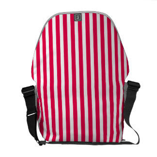 Valentines Stripes in Lipstick Pink and White Courier Bag