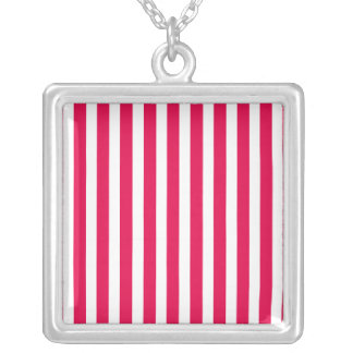 Valentines Stripes in Lipstick Pink and White Necklaces