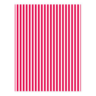 Valentines Stripes in Lipstick Pink and White Postcard