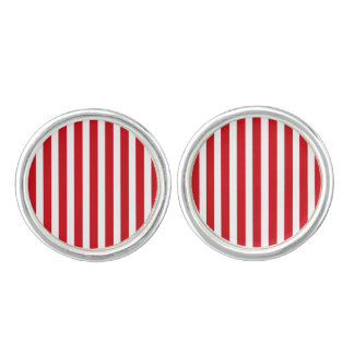Valentines Stripes in Lipstick Red and White Cufflinks