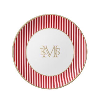 Valentines Stripes in Lipstick Red and White Porcelain Plate