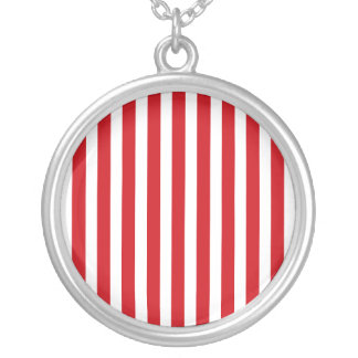Valentines Stripes in Lipstick Red and White Custom Necklace