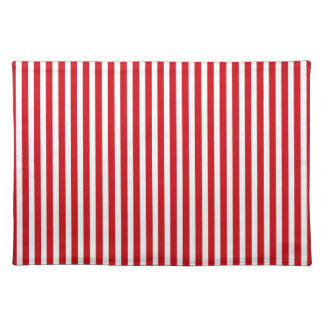 Valentines Stripes in Lipstick Red and White Cloth Place Mat