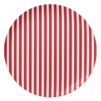 Valentines Stripes in Lipstick Red and White Plate