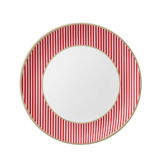 Valentines Stripes in Lipstick Red and White Porcelain Plates