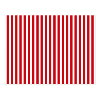 Valentines Stripes in Lipstick Red and White Postcard