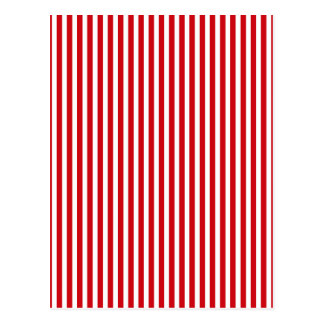 Valentines Stripes in Lipstick Red and White Postcards