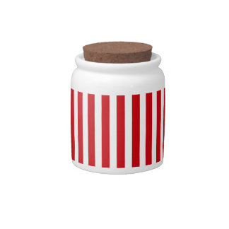 Valentines Stripes in Lipstick Red and White Candy Dish