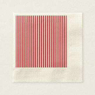 Valentines Stripes in Lipstick Red and White Paper Napkins