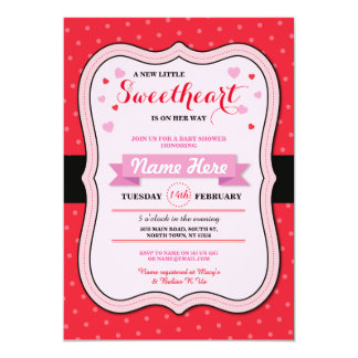Valentines Sweetheart Baby Shower Girl Love Invite