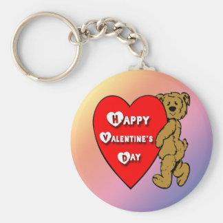 Valentine's Teddy Bear Basic Round Button Key Ring