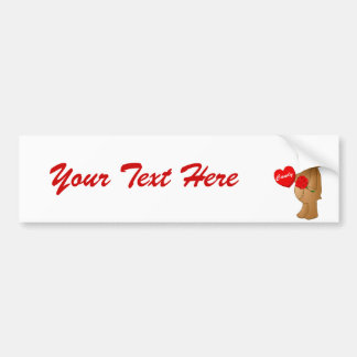Valentines Teddy Bear with Roses & Loveheart Candy Bumper Sticker