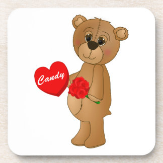 Valentines Teddy Bear with Roses & Loveheart Candy Coaster