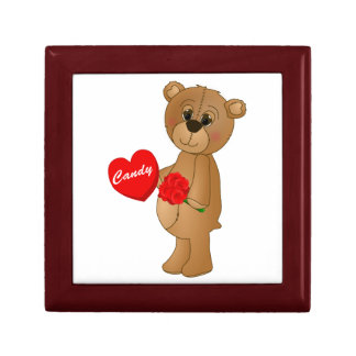 Valentines Teddy Bear with Roses & Loveheart Candy Gift Box