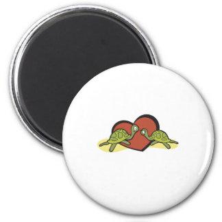 Valentines Turtle Love 6 Cm Round Magnet