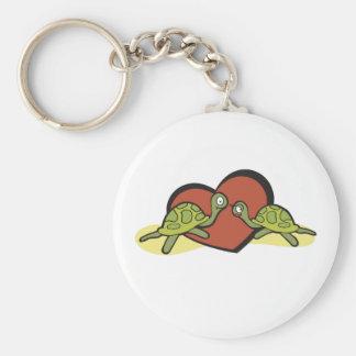 Valentines Turtle Love Basic Round Button Key Ring