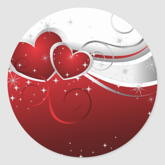 Valentines two hearts classic round sticker