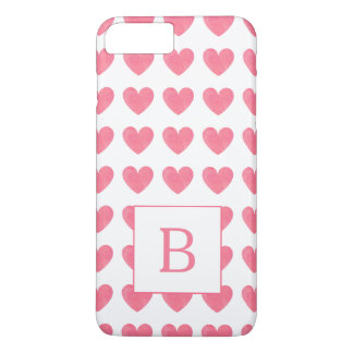 Valentines Watercolor Pink Heart Pattern Monogram iPhone 8 Plus/7 Plus Case