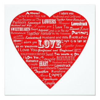 Valentines word collage invitation