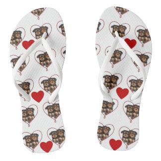 Valentines yorkie puppies flip flops