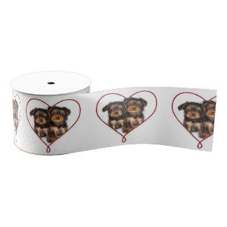 "Valentine's Yorkie terrier dog 3"" grosgrain Ribbon"