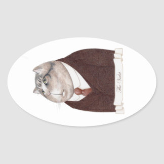 Valet Cat Oval Stickers