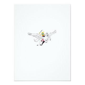 Valkyrie Amazon Warrior Flying Horse Cartoon 14 Cm X 19 Cm Invitation Card