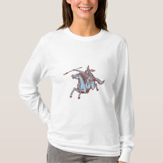 Valkyrie Warrior Riding Horse Spear Etching T-Shirt