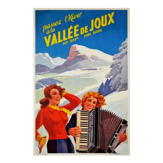 Vallee De Joux Switzerland Vintage Swiss Travel Poster