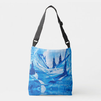 Valley of the castles painting crossbody bag