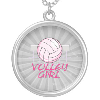 valley volley girl volleyball design round pendant necklace