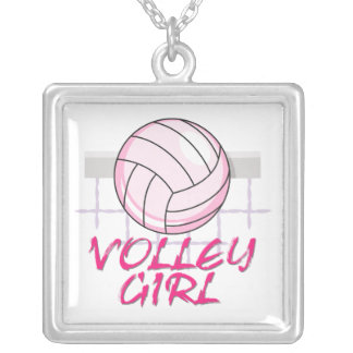 valley volley girl volleyball design square pendant necklace
