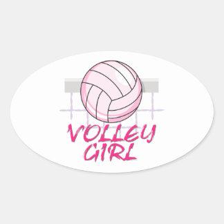 valley volley girl volleyball design oval sticker