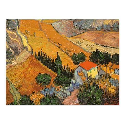 Valley with Ploughman by Vincent van Gogh Postcards