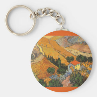 Valley with Ploughman Seen From Above Van Gogh Basic Round Button Keychain