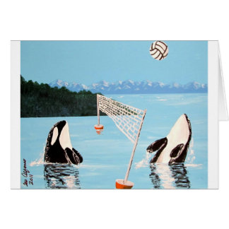 VALLEYBALL PLAYING ORCA WHALES GREETING CARDS