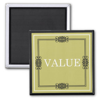 Value - One Word Quote For Motivation Square Magnet