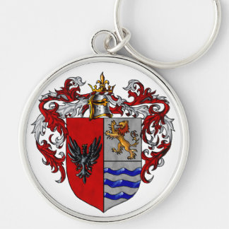 Valverde Coat of Arms Silver-Colored Round Key Ring