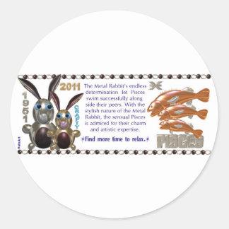 ValxArt 1951 Chinese zodiac metal rabbit  people Round Stickers
