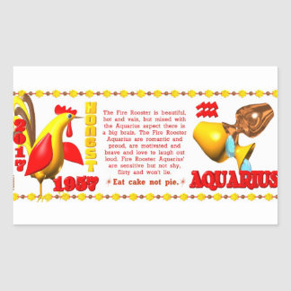 Valxart 1957 2017 2077 FireRooster zodiac Aquarius Rectangle Stickers