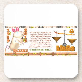 Valxart 1959 2019 2079 EarthPig zodiac Libra Drink Coasters