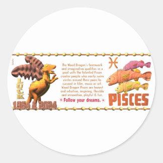 Valxart 1964 2024 Wood Dragon zodiac Pisces Classic Round Sticker