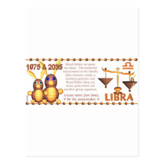 ValxArt 1975 Chinese zodiac wood rabbit born Libra Postcard