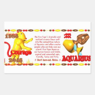 Valxart 1986 2046 FireTiger zodiac Aquarius Rectangular Sticker