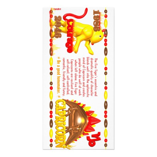 Valxart 1986 2046 FireTiger zodiac Capricorn Photo Greeting Card