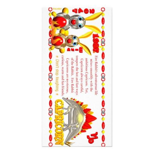 Valxart 1987 2047 FireRabbit zodiac Capricorn Custom Photo Card