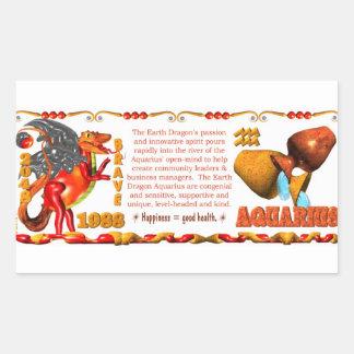 Valxart 1988 2048 EarthDragon zodiac Aquarius Rectangular Sticker